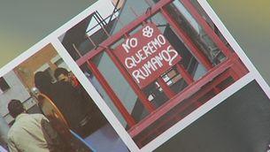 """Fragment del fullet repartit pel PP de Badalona en què apareix una fotografia on diu """"No volem romanesos""""."""