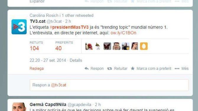 "#presidentMasTV3 ha estat ""trending topic"" mundial i a Espanya."