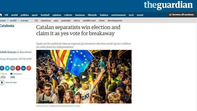 """L'edició digital del diari """"The Guardian"""" ha destacat el projecte independentista dels vençedors de les eleccions"""