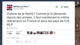 Tuit de Marine Le Pen
