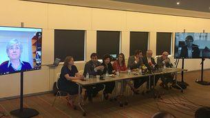 Els consellers a l'estranger durant la compareixença de premsa