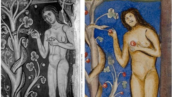 Detall d'una pintura mural. Fresc original i aquarel·la d'un alumne de Folch i Torres
