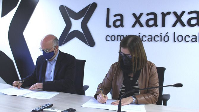 Lluís Garriga, conseller de la Xarxa Audiovisual Local i Núria Llorach, icepresidenta i presidenta en funcions de la Corporació Catalana de Mitjans …