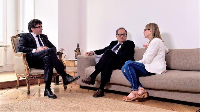 Puigdemont, Torra i Artadi, en una reunió a Berlín el maig de 2018