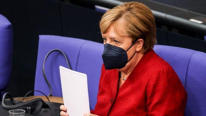Angela Merkel, aquest dimecres al Reichstag