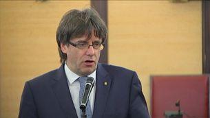 Carles Puigdemont en un acte a Vilafranca