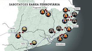Dues setmanes de sabotatges a la xarxa ferroviària catalana