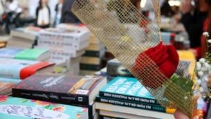 A rose and a book stall during Sant Jordi 2019 in Barcelona