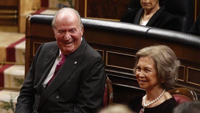 Els reis Joan Carles i Sofia, en un acte al Congrés dels Diputats