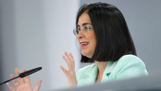 La ministra de Sanitat, Carolina Darias, en la roda de premsa posterior al Consell Interterritorial d'aquest dimecres