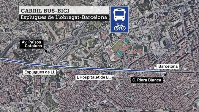Carril bus bici a l'eix de Laureà Miró i la carretera de Collblanc entre Esplugues i Barcelona