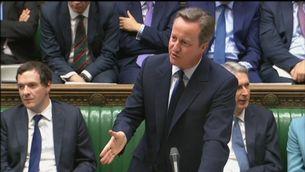 El primer ministre, David Cameron, durant la sessió d'aquest dijous a la Cambra dels Comuns