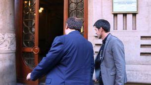 Junqueras, entrant a la seu d'Economia el primer dia laborable després de ser cessat (ACN)