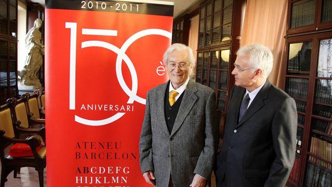 El president de l'Ateneu, Oriol Bohigas, i el conseller de Cultura, Ferran Mascarell (Foto: ACN)