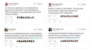 Reaccions a Twitter davant la decisió de la CUP
