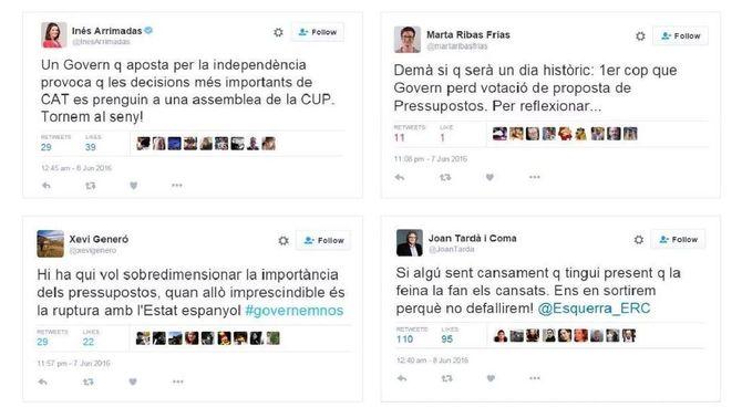 Els polítics catalans reaccionen a Twitter davant la decisió de la CUP