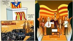 Sàtira i crítica: l'1 d'octubre vist per il·lustradors i humoristes gràfics internacionals