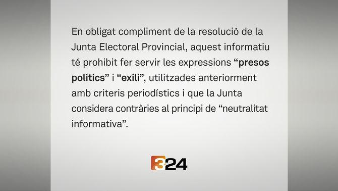 """La Junta Electoral torna a prohibir a TV3 i Catalunya Ràdio dir """"presos polítics"""" i """"exili"""""""