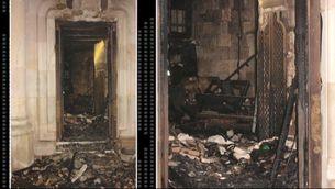 Estat en què ha quedat una de les sagristies de la cripta de la Sagrada Família després de l'incendi.