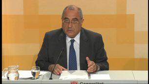 El conseller Joaquim Nadal, durant la compareixença