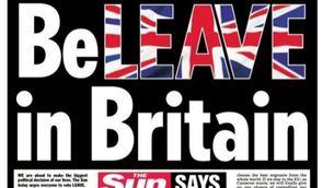 """Portada del diari """"The Sun"""" d'aquest dimarts en què demana el vot a favor del Brexit"""