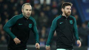 Andrés Iniesta amb Leo Messi a París