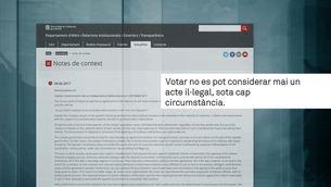 La Generalitat envia una carta a les cancelleries argumentant l'anunci del referèndum