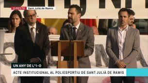 Primer aniversari de l'1-O: Acte institucional a Sant Julià de Ramis