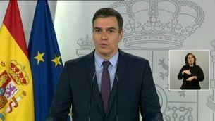 """Pedro Sánchez: """"Segueix l'estat d'alarma, continua el confinament general, només s'ha acabat la hibernació de la Setmana Santa"""""""
