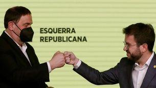 El candidat d'ERC, Pere Aragonès (a la dreta), acompanyat del líder del partit, Oriol Junqueras