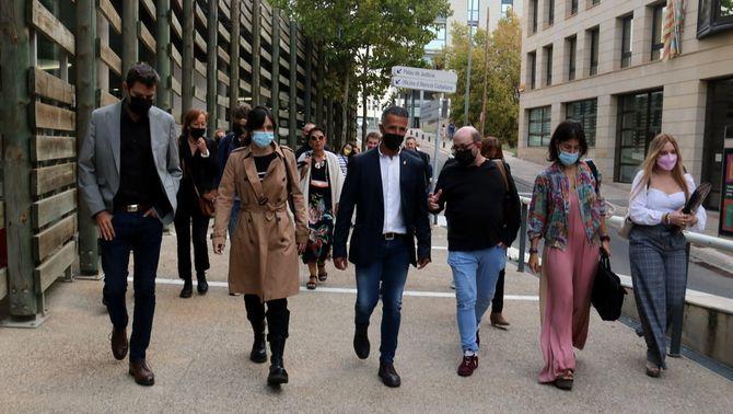 L'exalcalde d'Alcarràs Miquel Serra anant cap a declarar al judici