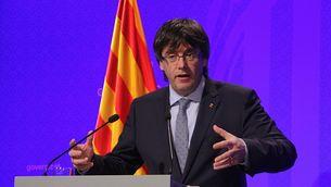 Carles Puigdemont durant la compareixença informativa d'aquest dimarts