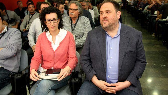 Oriol Junqueras i Marta Rovira en el Consell Nacional d'ERC celebrat d'1 d'abril (ACN)