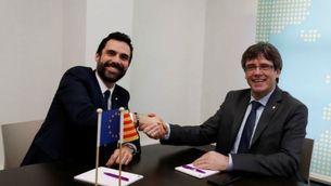 Torrent i Puigdemont, reunits a la seu de l'Aliança Lliure Europea, el partit europeu al qual pertany ERC