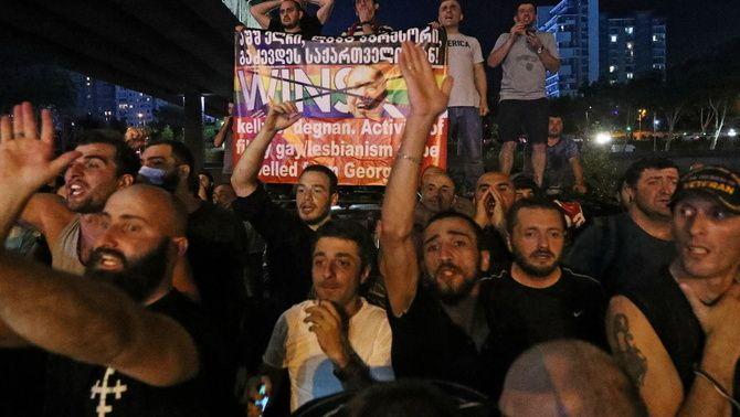 Manifestació contra el col·lectiu LGTBIQ+ a la capital de Geòrgia celebrada l'1 de juliiol