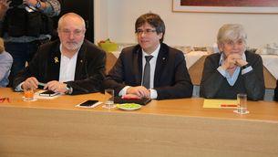 Puig, Puigdemont i Ponsatí, en una reunió de JxCat a Brussel·les (ACN)