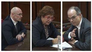 Els exconsellers Raül Romeva, Dolors Bassa i Jordi Turull en la seva declaració davant el Suprem