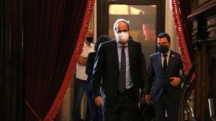 Quim Torra i Pere Aragonès entrant a l'hemicicle del Parlament de Catalunya (ACN)