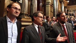 Herrera, Mas i Junqueras, el dia de l'aprovació de la Declaració de Sobirania. (Foto: ACN)