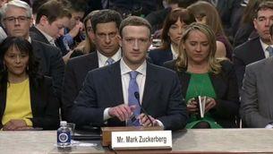 Mark Zuckerberg en la seva compareixença al Senat dels EUA