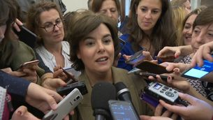 Soraya Sáenz de Santamaria en declaracions als passadissos del Congrés