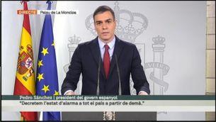 """Pedro Sánchez: """"Decretem l'estat d'alarma a tot el país a partir de demà"""""""