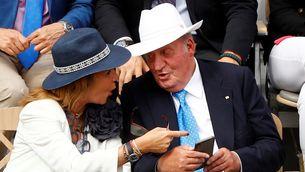 Joan Carles de Borbó, amb la infanta Elena, durant la final de l'any passat a Roland Garros