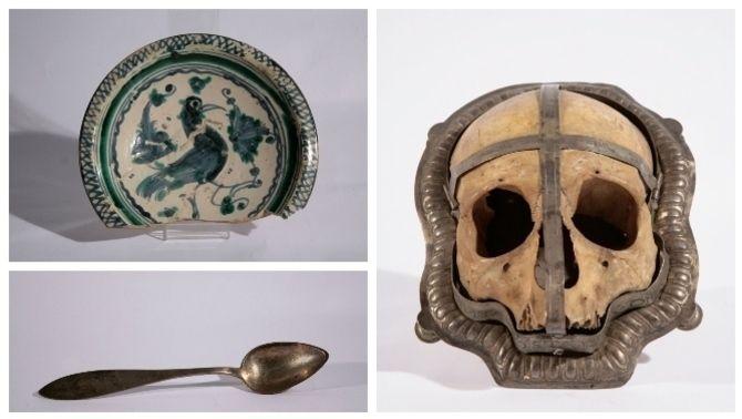 Escudella de ceràmica, cullera de servir i relicari amb el crani de santa Constanza