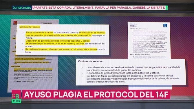 Ayuso plagia el protocol català del 14F