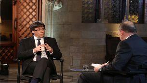 Carles Puigdemont durant l'entrevista a TV3 i Catalunya Ràdio