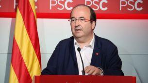 El líder del PSC, Miquel Iceta, durant la roda de premsa d'aquest dilluns (ACN)