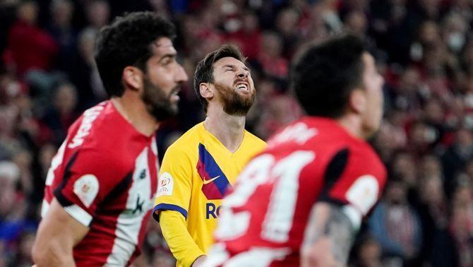 El Barça cau eliminat de la Copa als quarts de final després d'un gol de Williams al temps afegit a San Mamés(1-0)
