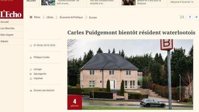 Puigdemont lloga una casa a Waterloo, segons informa la premsa belga