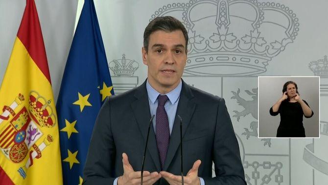 Sánchez diu que l'estat d'alarma arribarà al maig, però no allarga l'aturada econòmica